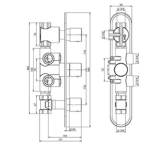Technical drawing QS-V38066 / CE3000RC+
