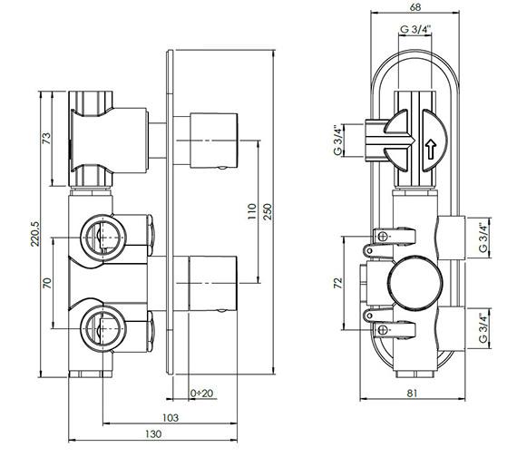 Technical drawing QS-V38067 / CE1500RC+