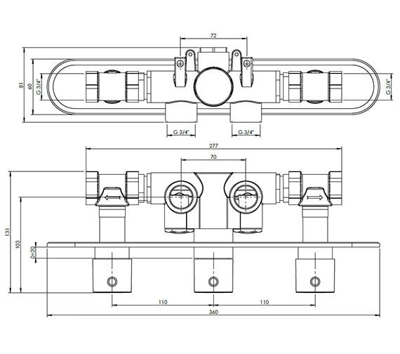 Technical drawing QS-V38068 / CE2001RC+