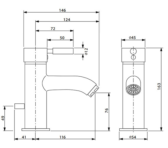 Alternate image of Crosswater Design Mini Monobloc Basin Mixer Tap