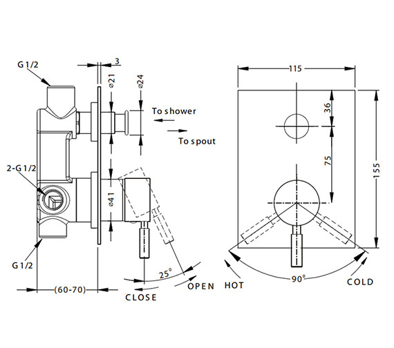 Additional image of Crosswater Design Manual Recessed Shower Valve - With Or Without Diverter