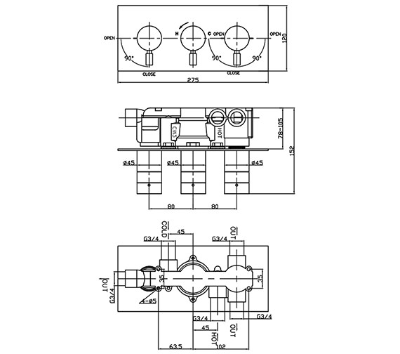 Technical drawing QS-V38181 / DE3001RC