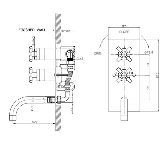 Technical drawing QS-V38235 / TO1600RC