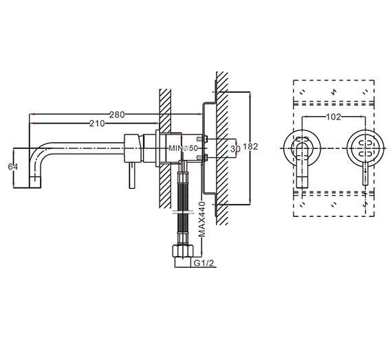Technical drawing QS-V38327 / KL120WNC