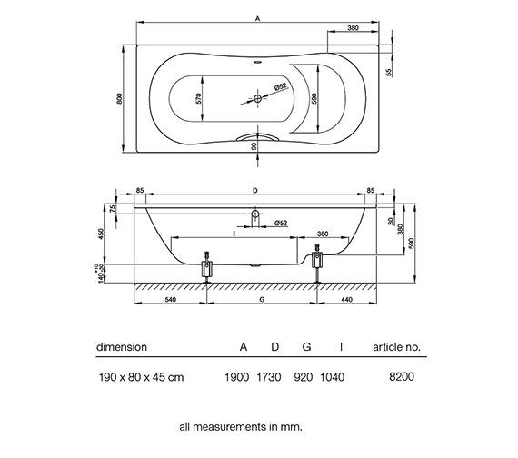 Technical drawing QS-V38430 / BETTE8200