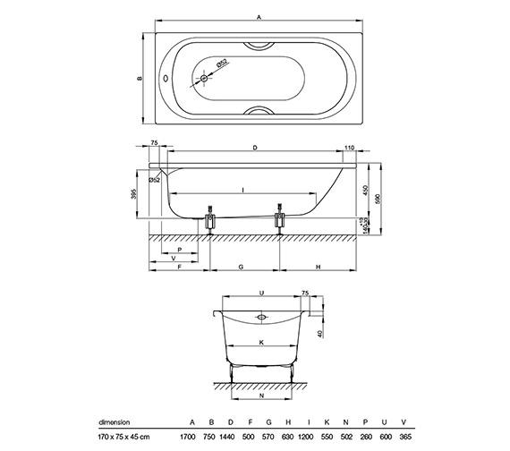 Technical drawing QS-V38440 / BETTE8260