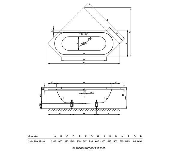Technical drawing QS-V38445 / BETTE2080