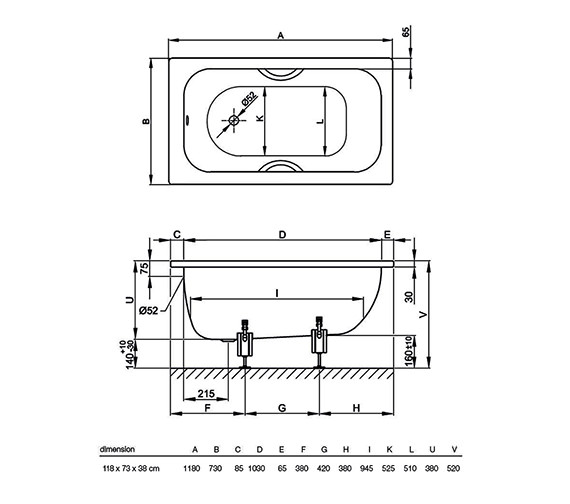 Technical drawing QS-V38447 / BETTE1180
