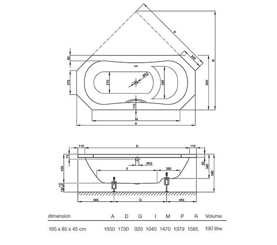Technical drawing QS-V38526 / BETTE8220