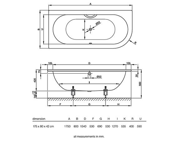 Technical drawing QS-V38527 / BETTE6660