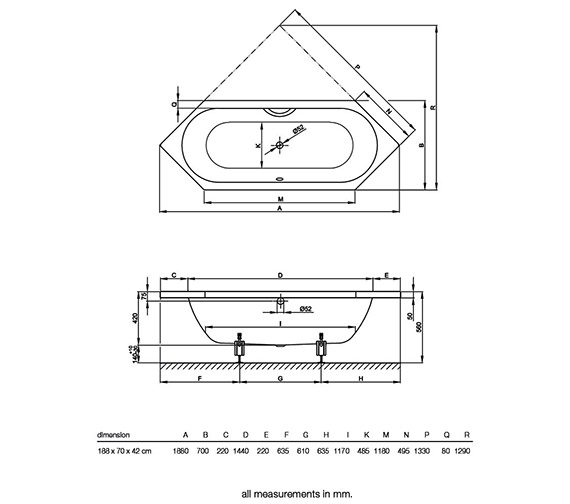Technical drawing QS-V38531 / BETTE2040