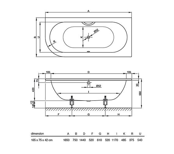 Technical drawing QS-V38538 / BETTE6680