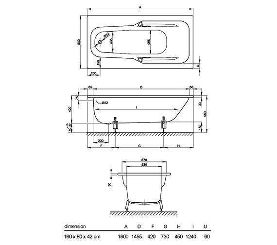 Technical drawing QS-V38540 / BETTE3670