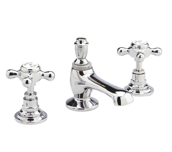 Hudson Reed Topaz 3 Tap Hole Basin Mixer Tap With Pop Up Waste