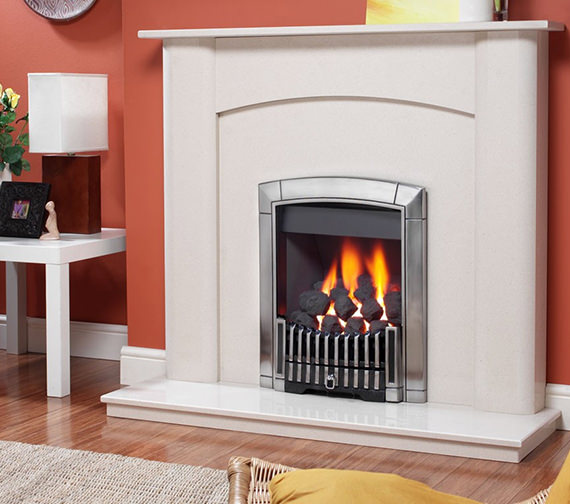 Flavel Caress Contemporary Slide Control Inset Gas Fire Silver