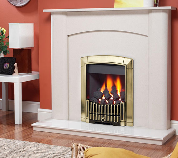 Caress Contemporary Remote Control Inset Gas Fire Brass - FICC15RN