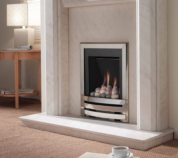 Flavel Windsor Manual Control Contemporary Gas Fire Silver-Pebble