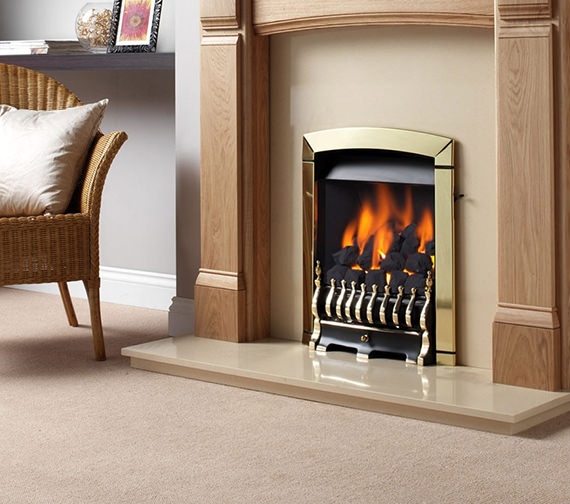 Flavel Calypso Slide Control Hearth Mounted Inset Gas Fire Brass