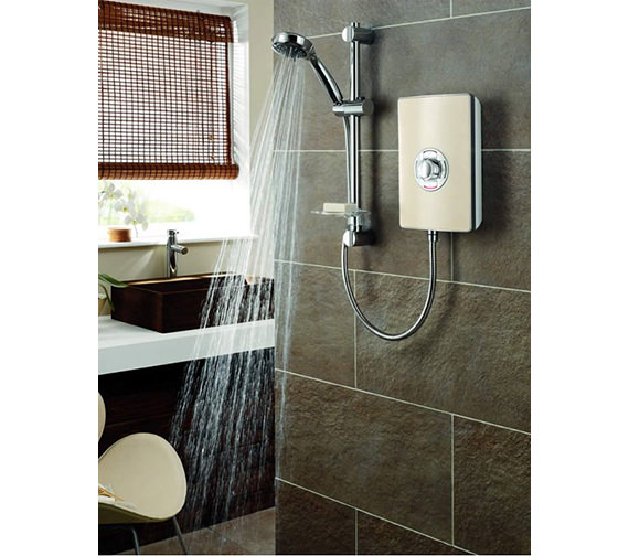 Triton Authentic Aspirante Brushed Steel Electric Shower 9.5 KW- ASP09BRSTL
