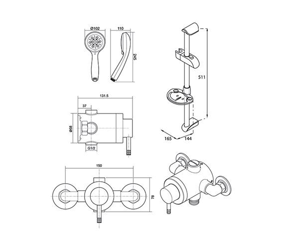 Technical drawing QS-V40026 / UNTHTHEXSM