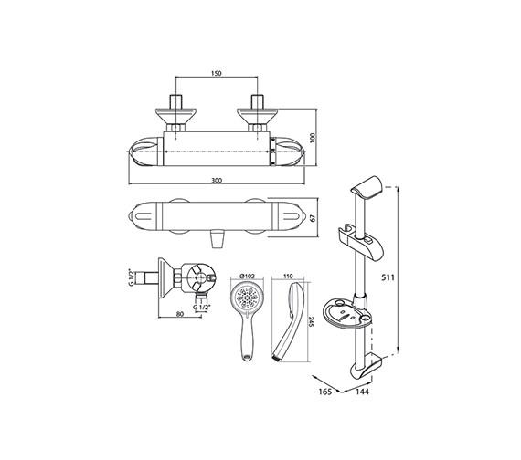 Technical drawing QS-V40039 / UNTYTHBM