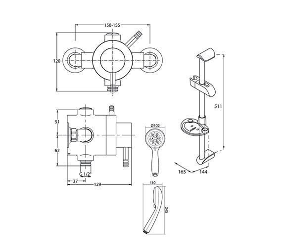 Technical drawing QS-V40092 / UNTHEXCM
