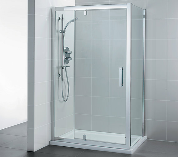 ideal standard pivot corner shower door with inline panel 1200