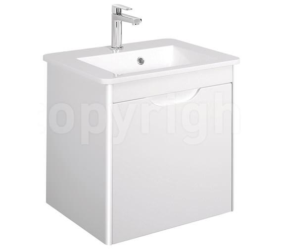 Bauhaus Solo 500mm Single Drawer Wall Hung Basin Unit White Gloss