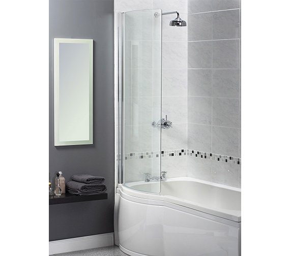 Aqualux Aqua 3 Shine Curved Bath Screen 710 x 1500mm
