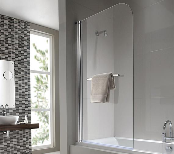 Twyford Geo6 Single Panel Left Handed Bath Screen 1500 x 850mm