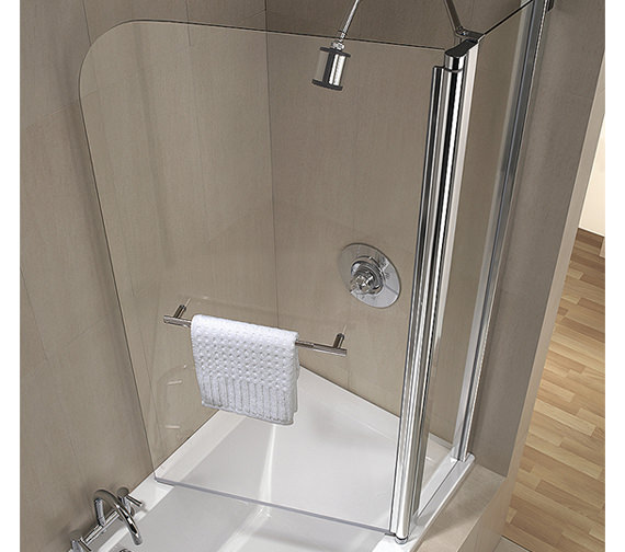Additional image of Twyford Geo6 2 Panel Bath Screen 1500 x 1200mm