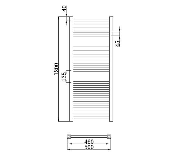 Lauren Electric Only 500 X 700mm Heated Ladder Chrome: Lauren Square Ladder Rail 500 X 1200mm Chrome