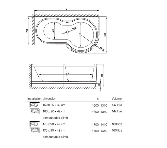 Image 2 of Bette Cora Ronda Comfort Shower Bath 1600 x 900mm - 8500CERH