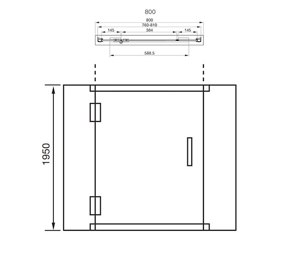 Aquadart Inline Recess Hinged Shower Door 800mm Aq1018
