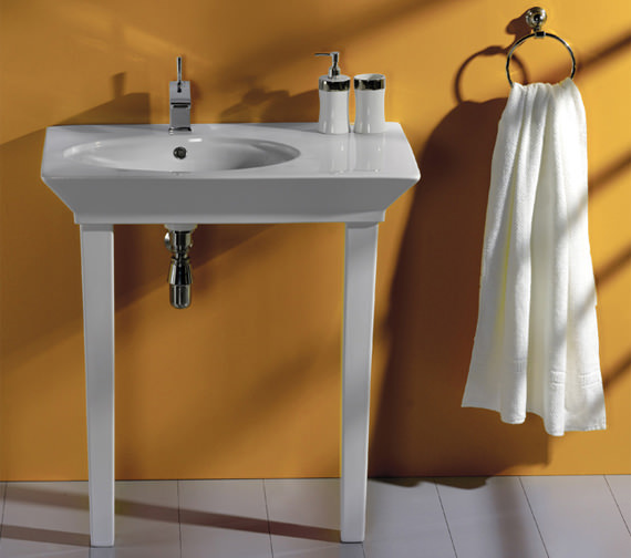 RAK Opulence Hers Basin With Click Clack Waste And Legs 800mm White