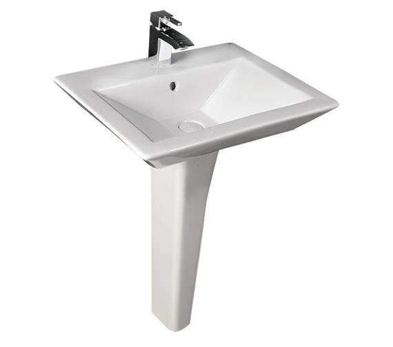 RAK Opulence His Basin With Full Pedestal And Click Clack Waste 580mm