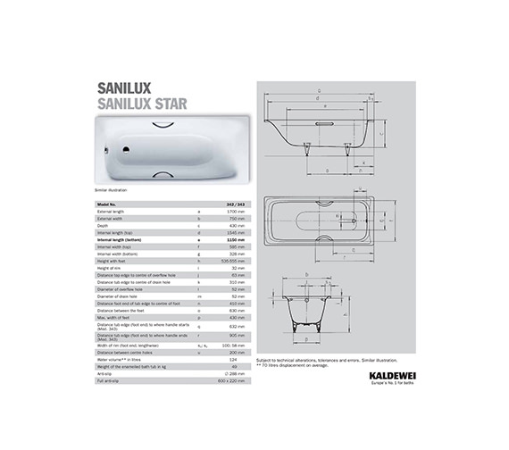 Image 2 of Kaldewei Sanilux 342 Steel Bath 1700 x 750mm