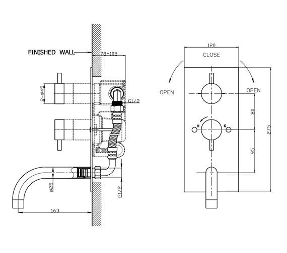 Technical drawing QS-V41340 / KL1600RC