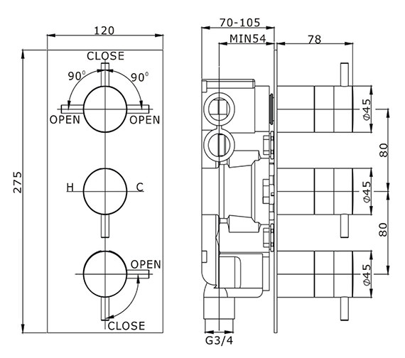Technical drawing QS-V41343 / KL3000RC
