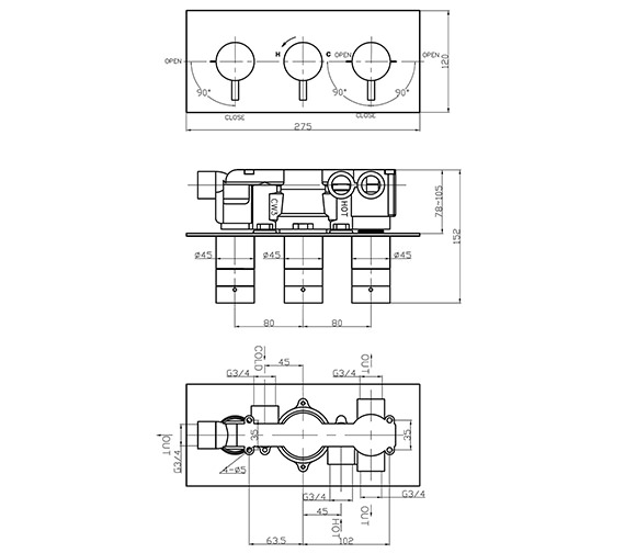 Technical drawing QS-V41344 / KL3001RC