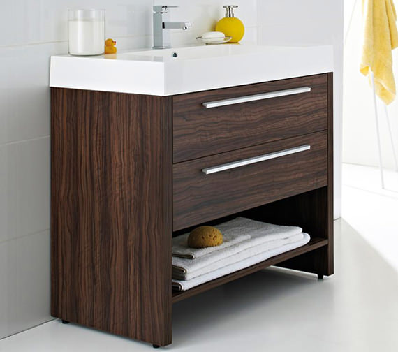 Ultra harbour walnut floor mounted basin and drawer for Bathroom cabinet 900mm high