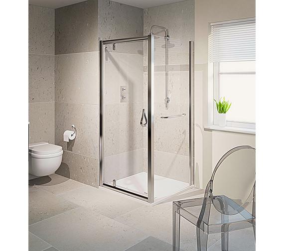 Aqua 6 Pivot Shower Door Polished Silver 760mm