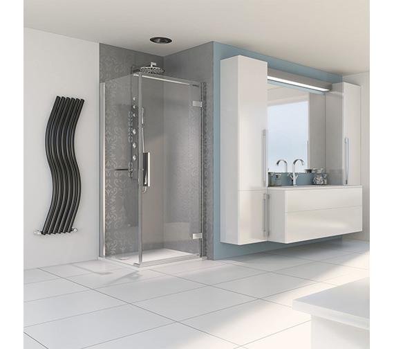 Aqualux Aqua 8 Hinge Pivot Door 800mm And 800mm Side Panel