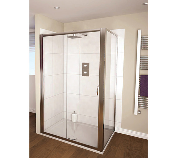 Aqualux aqua 4 sliding shower door 1200mm polished silver for 1200mm shower door sliding
