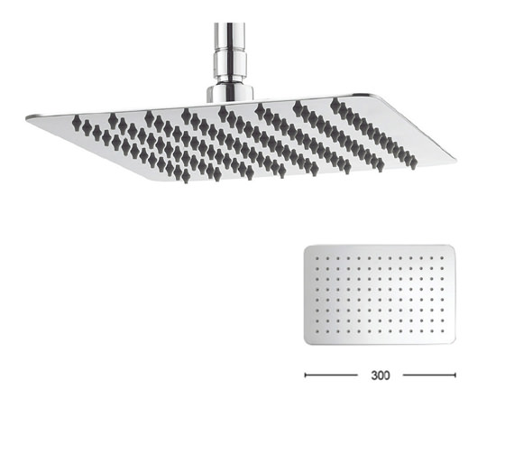 Crosswater Glide 300 x 200mm Wide Rectangular Shower Head