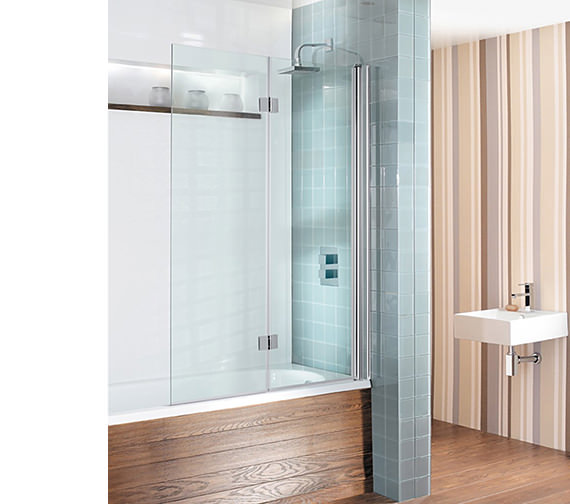 Simpsons Design View Double Bath Screen - Dual Inward Opening