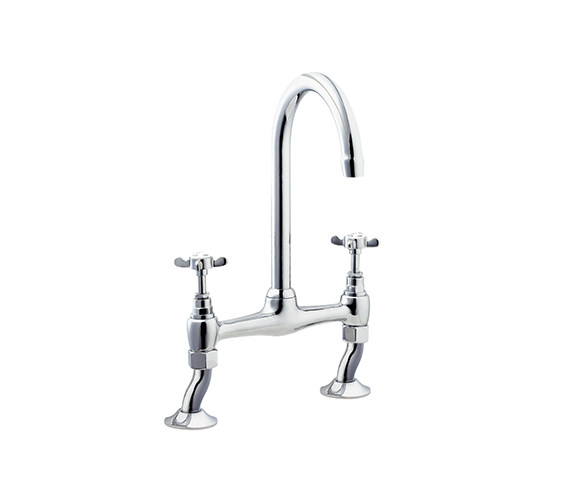Deva Coronation Bridge Sink Mixer Tap Chrome - CR305