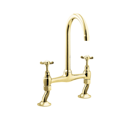 Deva Coronation Bridge Sink Mixer Gold Tap - CR305-501