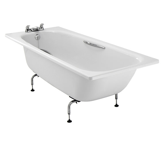 Additional image of Twyford Assisted 1700 x 700mm Slip Resistant Steel Bath With Grips