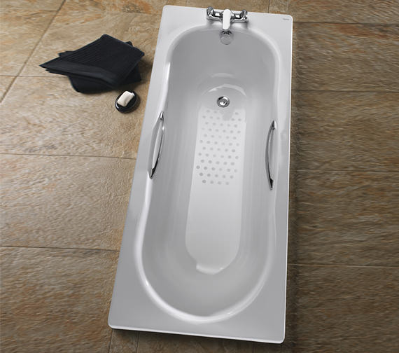 Additional image of Twyford Celtic Plain Steel 2 Tap Hole Bath With Legs
